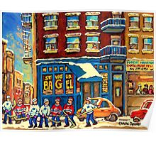 ST.VIATEUR BAGEL MONTREAL WITH HOCKEY GAME MONTREAL CITY WINTER SCENE PAINTING Poster