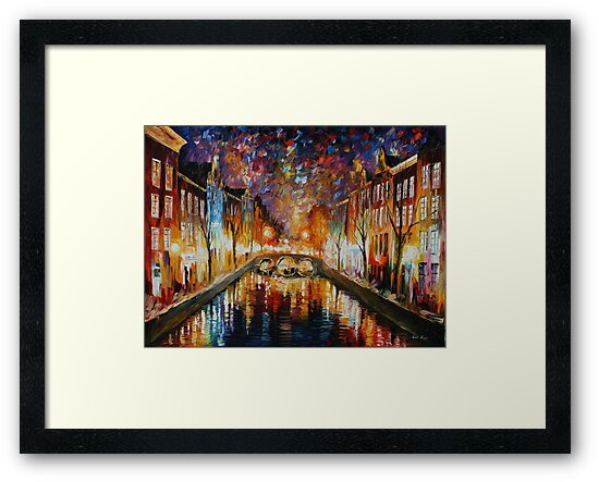 NIGHT AMSTERDAM limited edition giclee of L.AFREMOV painting by LeonidAfremov