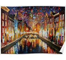 NIGHT AMSTERDAM limited edition giclee of L.AFREMOV painting Poster