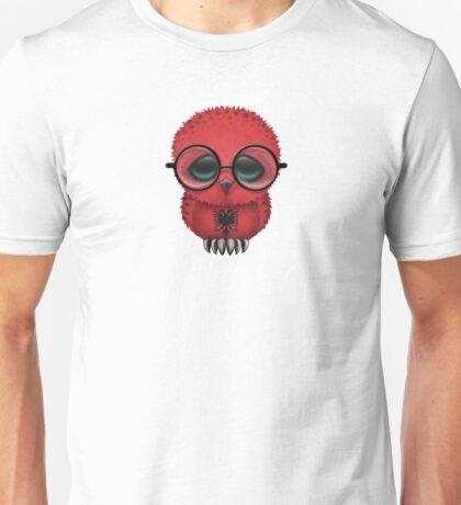 Nerdy Albanian Baby Owl on a Branch Unisex T-Shirt