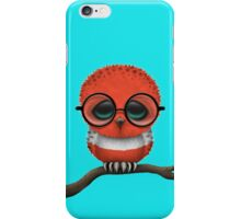 Nerdy Austrian Baby Owl on a Branch iPhone Case/Skin