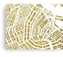 Gold Amsterdam map, Netherlandes Canvas Print