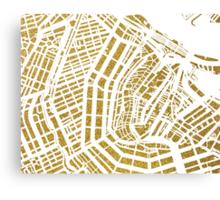 Gold Amsterdam map, Netherlandes Canvas Print