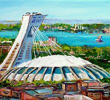 MONTREAL OLYMPIC STADIUM MONTREAL SKYLINE PAINTINGS by Carole  Spandau