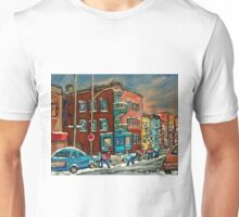 WILENSKY'S DINER AND HOCKEY MONTREAL WINTER SCENE PAINTINGS Unisex T-Shirt