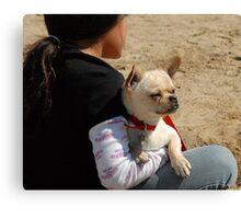 Girl and Dog Canvas Print