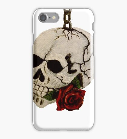 Hand-Painted Skull and Red Rose using Acrylic Paints iPhone Case/Skin
