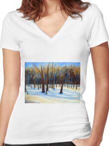 WINTER SCENE LANDSCAPE CANADIAN ART PAINTINGS Women's Fitted V-Neck T-Shirt