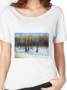 WINTER SCENE LANDSCAPE CANADIAN ART PAINTINGS Women's Relaxed Fit T-Shirt