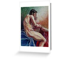 Male Nude in Thought (Mixed Media)- Greeting Card