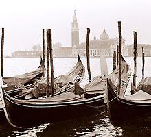 Sepia Gondolas by DavidROMAN