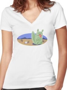 Squirrel Cactus  Women's Fitted V-Neck T-Shirt