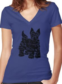 Shaggy Scotty Dog  Women's Fitted V-Neck T-Shirt