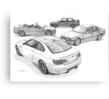 BMW M3 (4 Generations) Canvas Print