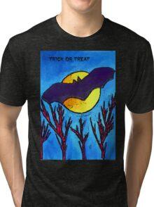 Halloween bat and moon trick or treat Tri-blend T-Shirt