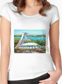 MONTREAL OLYMPIC STADIUM MONTREAL SKYLINE PAINTINGS Women's Fitted Scoop T-Shirt
