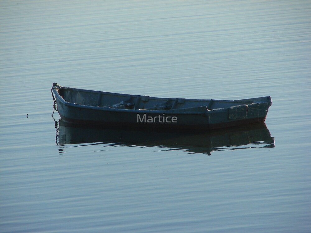Blue Boat Reflection by Martice