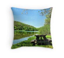 Table By The Lake Throw Pillow
