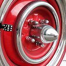 Red Classic Car Tire Spokes and Die by Barberelli