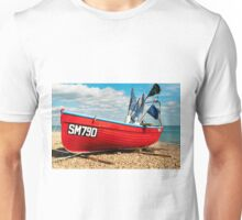 Lonely fishing boat on the pebble beach Unisex T-Shirt