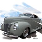 Sophisticated Gray Classic Car in the clouds by Barberelli