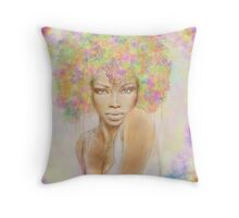 The girl with new hair style Throw Pillow