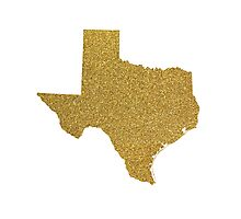 Gold Texas map Photographic Print