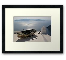 Boat in Santorini Framed Print