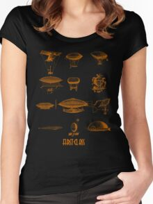 Blimp dirigible airship zeppelin fly green  Women's Fitted Scoop T-Shirt