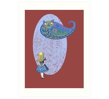 Alice and the Cheshire Paisley Art Print