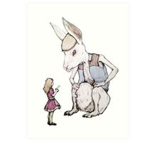 Jefferson Hare and the Child in Pink Art Print