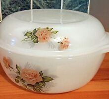 Retro Casserole Dish with Rose Motif by BlueMoonRose