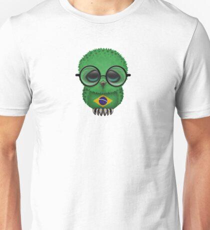 Nerdy Brazilian Baby Owl on a Branch Unisex T-Shirt