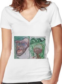 The True Face of Albert the Pudding Women's Fitted V-Neck T-Shirt