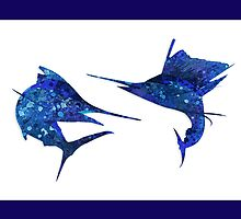 Marlin / Sailfish Mosaic - Dark by blackmarlinblog