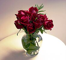 Red Roses in a Vase by Judi Taylor