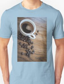 Espresso and beans on a table Unisex T-Shirt