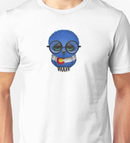 Nerdy Colorado Baby Owl on a Branch Unisex T-Shirt