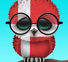 Nerdy Danish Baby Owl on a Branch by Jeff Bartels