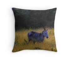 donkeys in the grass Throw Pillow
