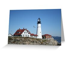 Portland Head Light House with seagull Greeting Card