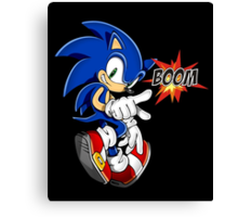 Sonic the boom hedgehog - on black Canvas Print