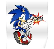 Sonic the boom hedgehog - on white Poster