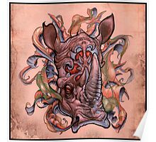 rhino, ornaments, letters, mystical, surreal, fantasy, rustic Poster