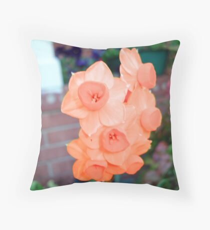 Peach Daffodils Throw Pillow