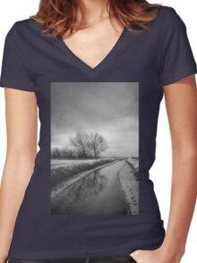 Moonland Women's Fitted V-Neck T-Shirt