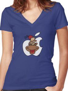 Mac Monkey! Women's Fitted V-Neck T-Shirt