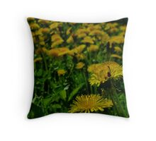 lady bug in yellow Throw Pillow
