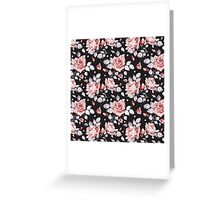 Stylish Vintage Pink Floral Pattern Greeting Card