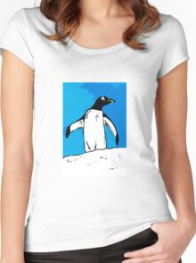 Penguin with blue sky Women's Fitted Scoop T-Shirt